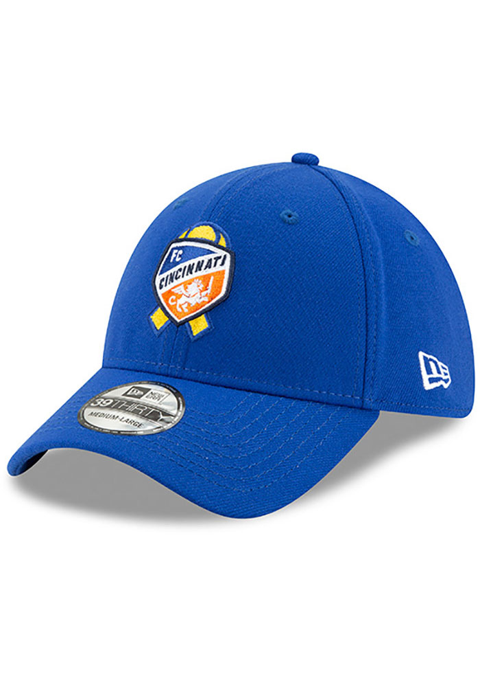 New Era FC Cincinnati Mens Blue Kick Childhood Cancer 39THIRTY Flex Hat - Image 1