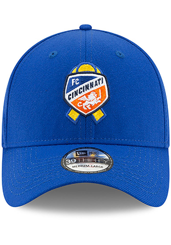 New Era FC Cincinnati Mens Blue Kick Childhood Cancer 39THIRTY Flex Hat - Image 3