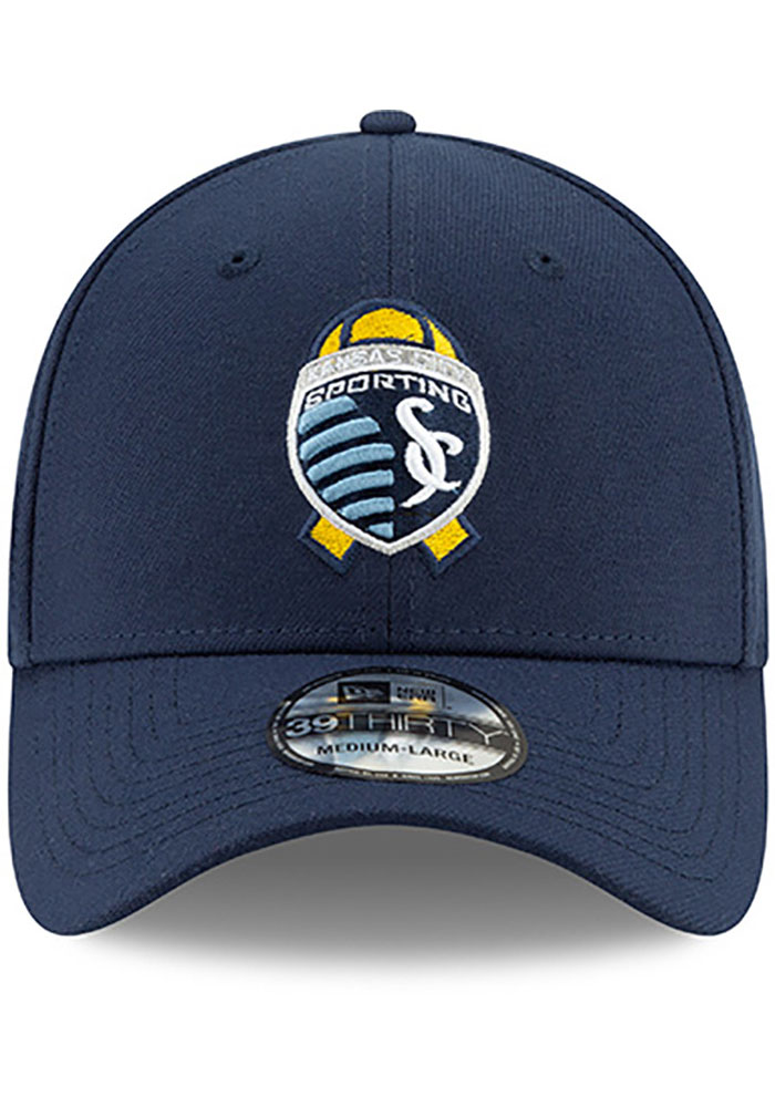 New Era Sporting Kansas City Mens Navy Blue Kick Childhood Cancer 39THIRTY Flex Hat - Image 3