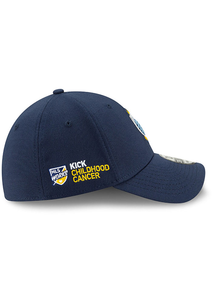 New Era Sporting Kansas City Mens Navy Blue Kick Childhood Cancer 39THIRTY Flex Hat - Image 6