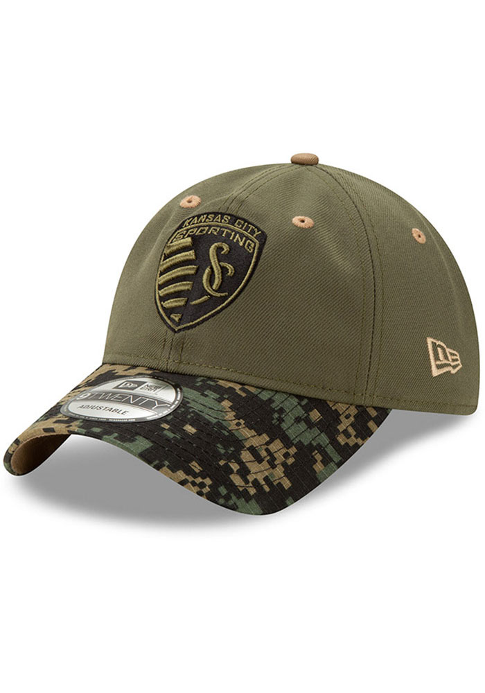 New Era Sporting Kansas City Military Appreciation 9TWENTY Adjustable Hat - Olive - Image 1