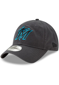 Miami Marlins New Era Core Classic 9TWENTY Adjustable Hat - Grey