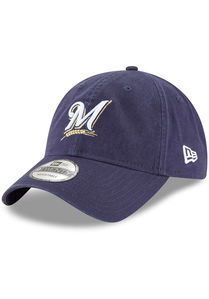 Milwaukee Brewers New Era Core Classic Replica 9TWENTY Adjustable Hat - Navy Blue