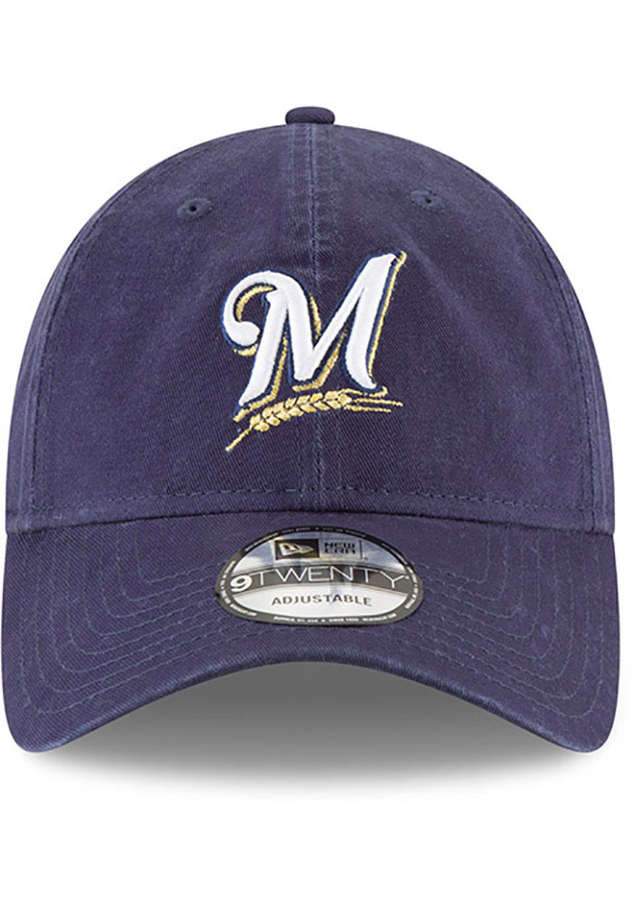 New Era Milwaukee Brewers Core Classic Replica 9TWENTY Adjustable Hat - Navy Blue - Image 2