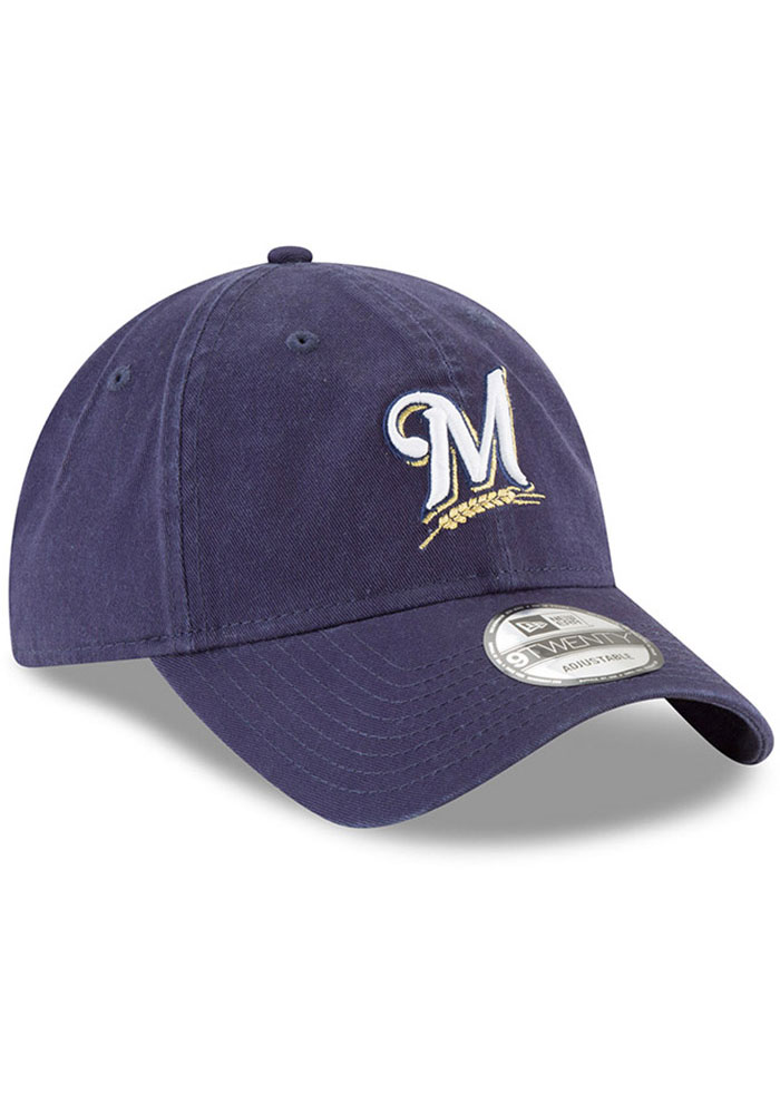 New Era Milwaukee Brewers Core Classic Replica 9TWENTY Adjustable Hat - Navy Blue - Image 3