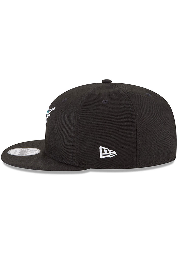 New Era Miami Marlins Black Basic 9FIFTY Mens Snapback Hat - Image 4