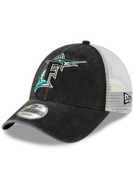 Miami Marlins New Era Cooperstown Trucker 9FORTY Adjustable Hat - Black