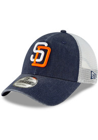 San Diego Padres New Era Cooperstown Trucker 9FORTY Adjustable Hat - Navy Blue