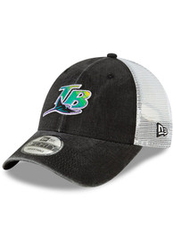 Tampa Bay Rays New Era Cooperstown Trucker 9FORTY Adjustable Hat - Black