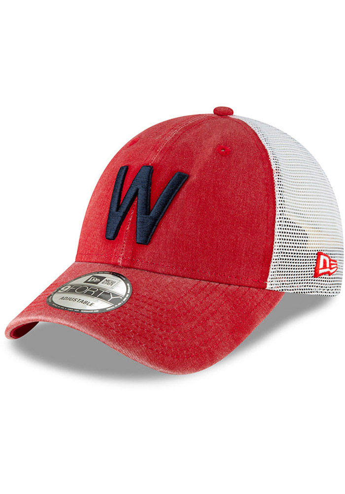 New Era Washington Nationals Cooperstown Trucker 9FORTY Adjustable Hat - Red - Image 1