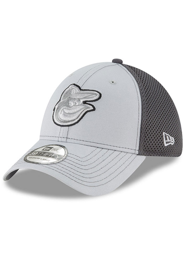New Era Baltimore Orioles Mens Grey Grayed Out Neo 39THIRTY Flex Hat - Image 1