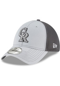 Colorado Rockies New Era Grayed Out Neo 39THIRTY Flex Hat - Grey
