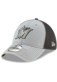Miami Marlins New Era Grayed Out Neo 39THIRTY Flex Hat - Grey