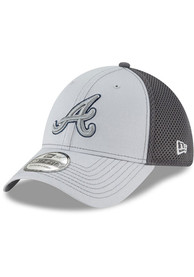 Atlanta Braves New Era Grayed Out Neo 39THIRTY Flex Hat - Grey