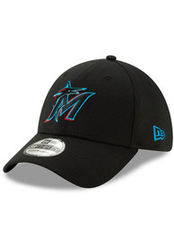 Miami Marlins New Era Team Classic 39THIRTY Flex Hat - Black