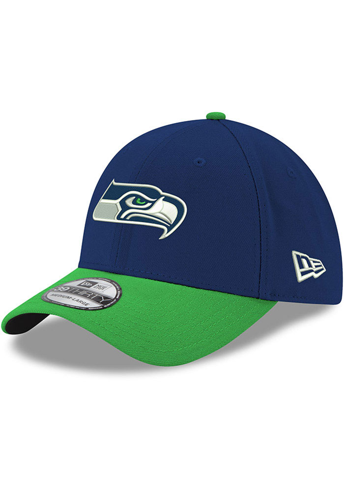 New Era Seattle Seahawks Mens Navy Blue Team Classic 39THIRTY Flex Hat - Image 1
