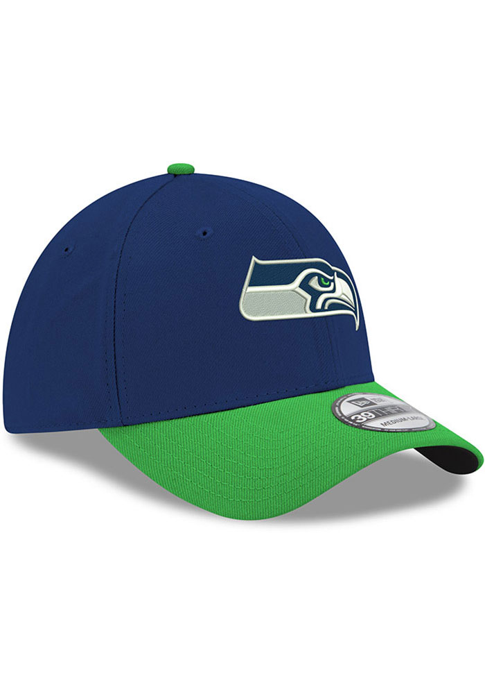 New Era Seattle Seahawks Mens Navy Blue Team Classic 39THIRTY Flex Hat - Image 2