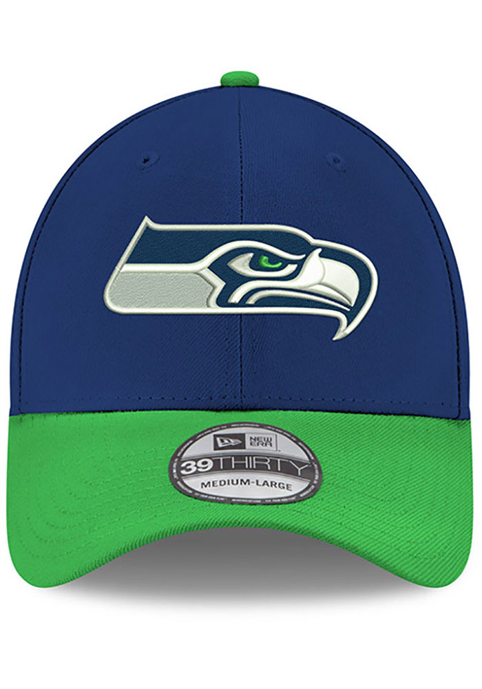 New Era Seattle Seahawks Mens Navy Blue Team Classic 39THIRTY Flex Hat - Image 3