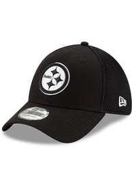 Pittsburgh Steelers New Era White Neo 39THIRTY Flex Hat - Black