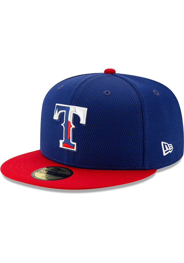 New Era Texas Rangers Mens Blue 2020 Batting Practice 59FIFTY Fitted Hat - Image 1