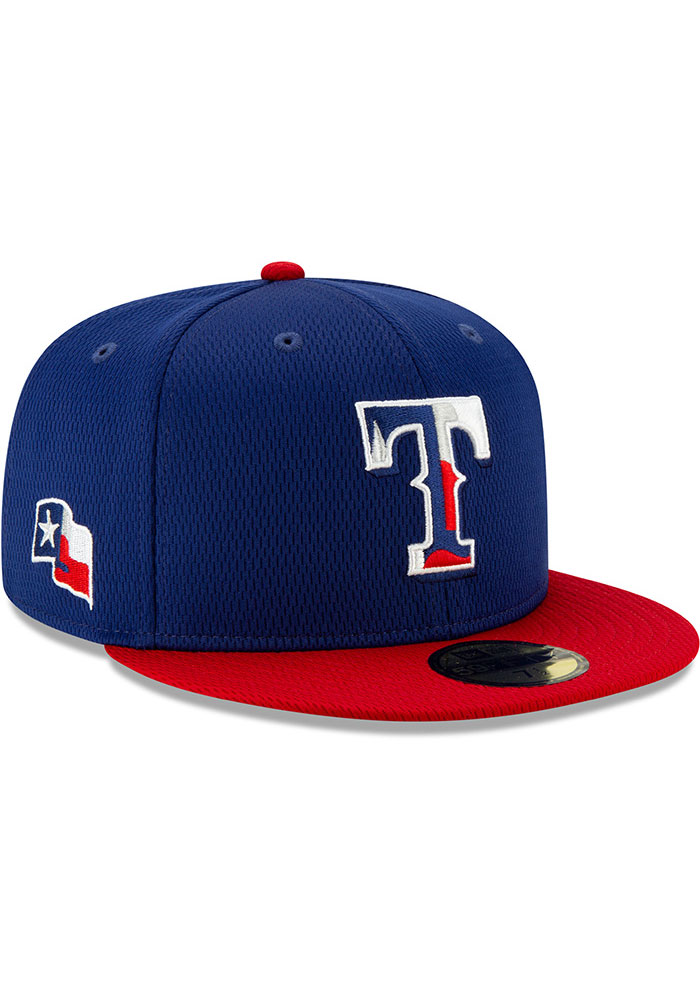 New Era Texas Rangers Mens Blue 2020 Batting Practice 59FIFTY Fitted Hat - Image 2