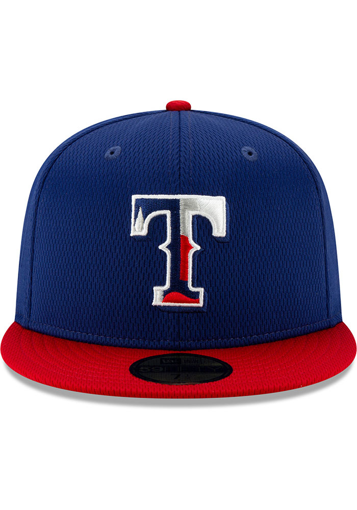New Era Texas Rangers Mens Blue 2020 Batting Practice 59FIFTY Fitted Hat - Image 3