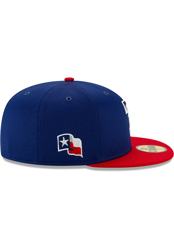 New Era Texas Rangers Mens Blue 2020 Batting Practice 59FIFTY Fitted Hat - Image 6
