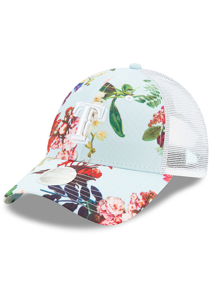 New Era Texas Rangers Light Blue Floral 9FORTY Womens Adjustable Hat - Image 1
