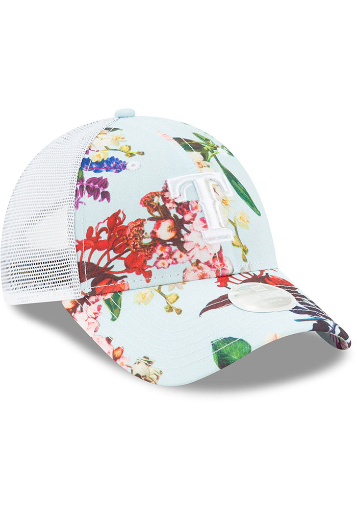 New Era Texas Rangers Light Blue Floral 9FORTY Womens Adjustable Hat - Image 2