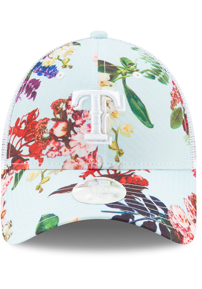 New Era Texas Rangers Light Blue Floral 9FORTY Womens Adjustable Hat - Image 3