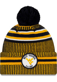 New Era West Virginia Mountaineers Navy Blue NE19 Sport Cuff Pom Knit Hat