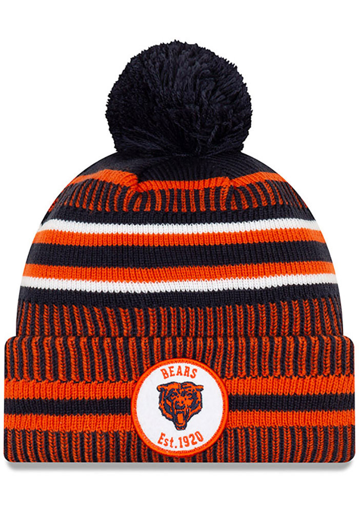 New Era Chicago Bears Navy Blue NFL 2019 Official Home Sport Mens Knit Hat - Image 1