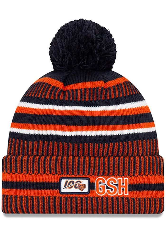 New Era Chicago Bears Navy Blue NFL 2019 Official Home Sport Mens Knit Hat - Image 2