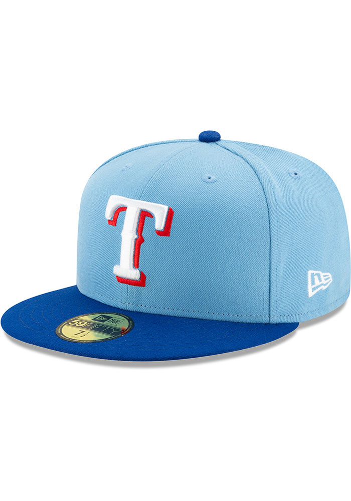 New Era Texas Rangers Mens Light Blue AC Alt 2 59FIFTY Fitted Hat - Image 1