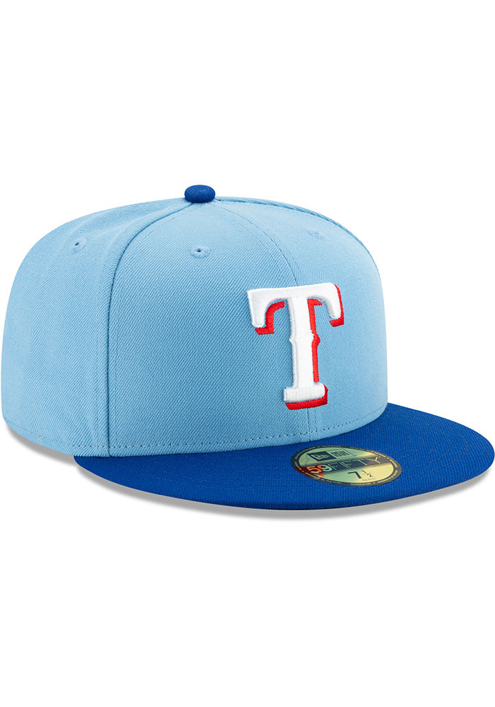 New Era Texas Rangers Mens Light Blue AC Alt 2 59FIFTY Fitted Hat - Image 2