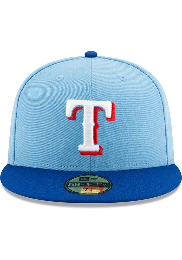 New Era Texas Rangers Mens Light Blue AC Alt 2 59FIFTY Fitted Hat - Image 3