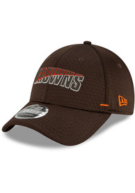 Cleveland Browns New Era NFL20 Official Training SS 9FORTY Adjustable Hat - Brown