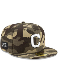 Cleveland Indians New Era 2021 Armed Forces Day 59FIFTY Fitted Hat - Green