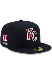 Kansas City Royals New Era 2021 July 4th 59FIFTY Fitted Hat - Navy Blue
