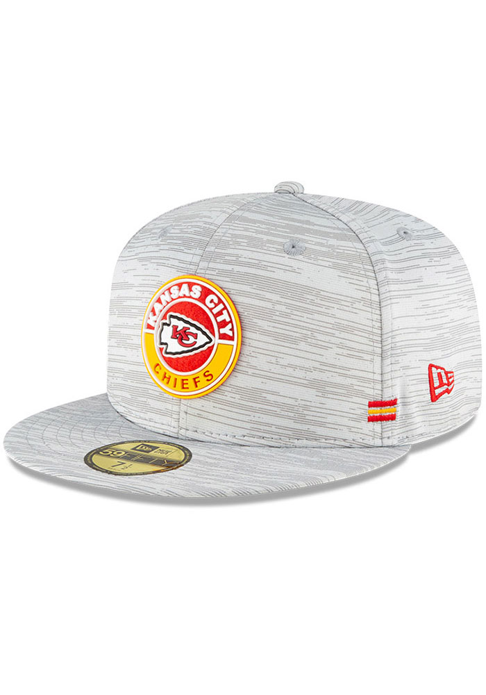 New Era Kansas City Chiefs Mens Grey NFL20 Official Sideline 59FIFTY Fitted Hat - Image 1