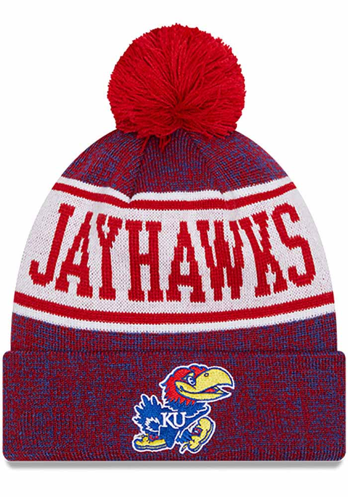Kansas Jayhawks Youth New Era JR Banner Knit Hat - Blue