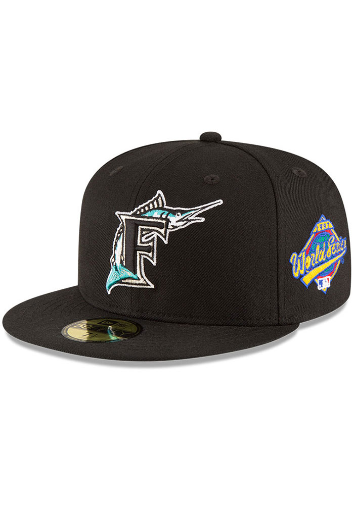 New Era Miami Marlins Mens Black 1997 World Series Side Patch 59FIFTY Fitted Hat - Image 1