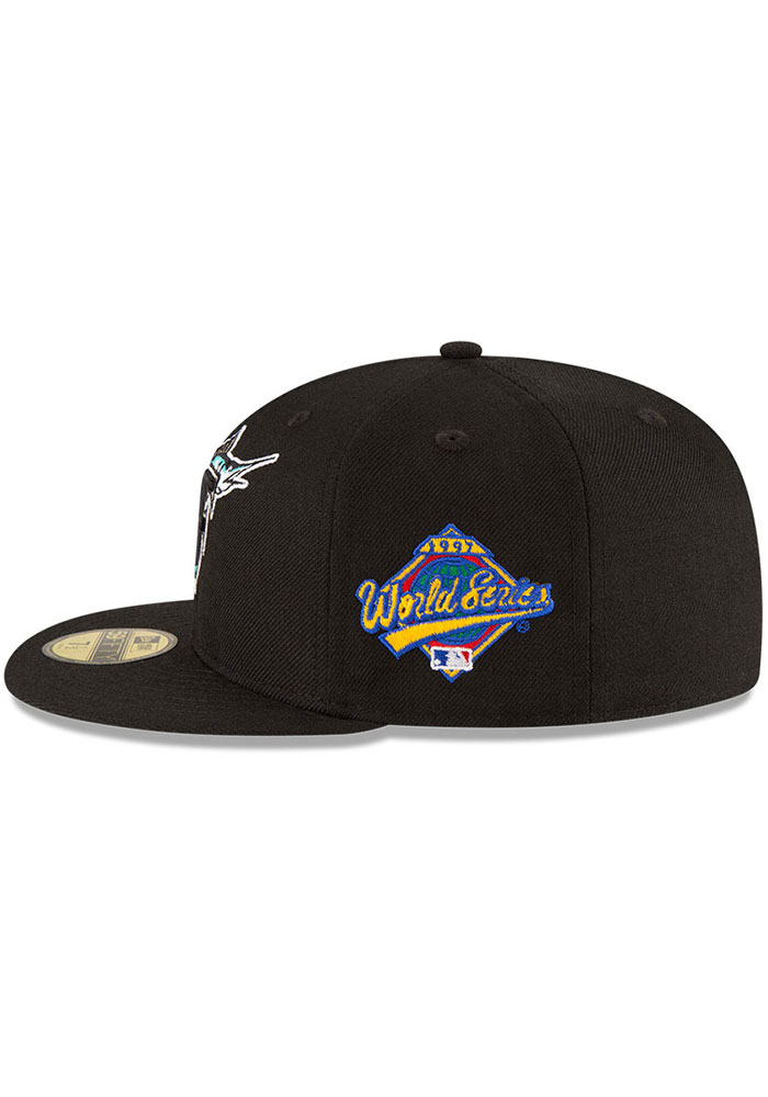 New Era Miami Marlins Mens Black 1997 World Series Side Patch 59FIFTY Fitted Hat - Image 4