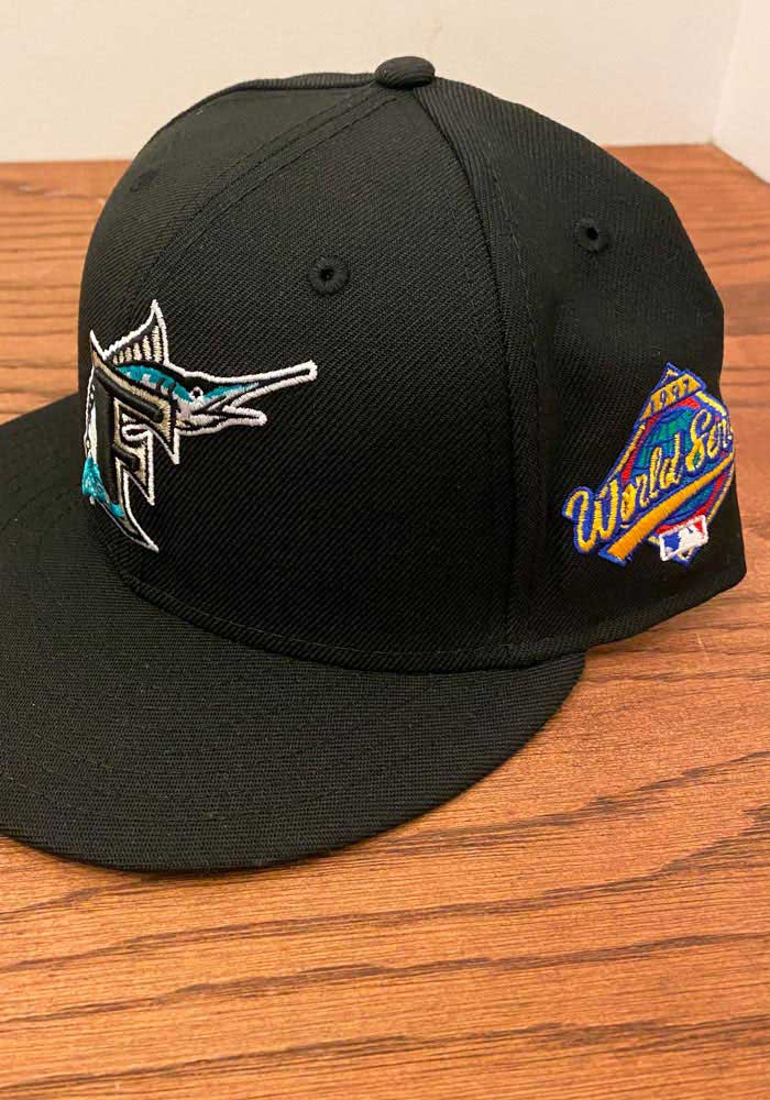 New Era Miami Marlins Mens Black 1997 World Series Side Patch 59FIFTY Fitted Hat - Image 7