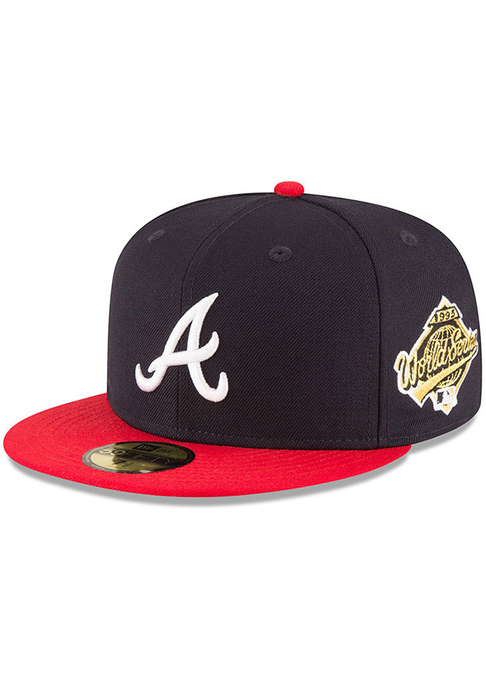 New Era Atlanta Braves Mens Navy Blue 1995 World Series Side Patch 59FIFTY Fitted Hat - Image 1