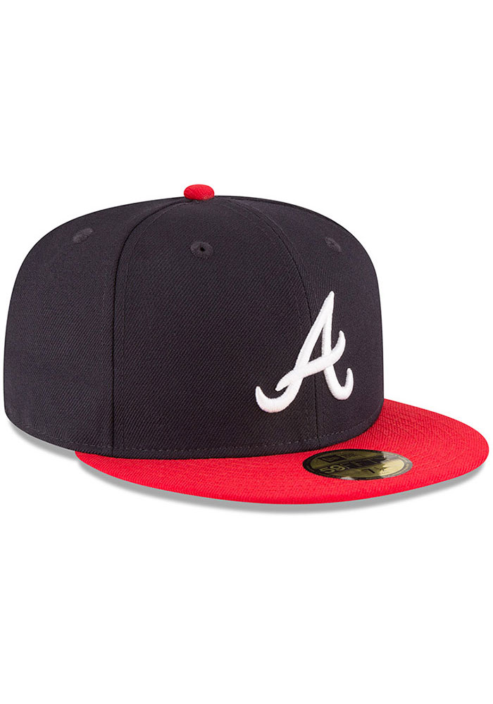 New Era Atlanta Braves Mens Navy Blue 1995 World Series Side Patch 59FIFTY Fitted Hat - Image 2