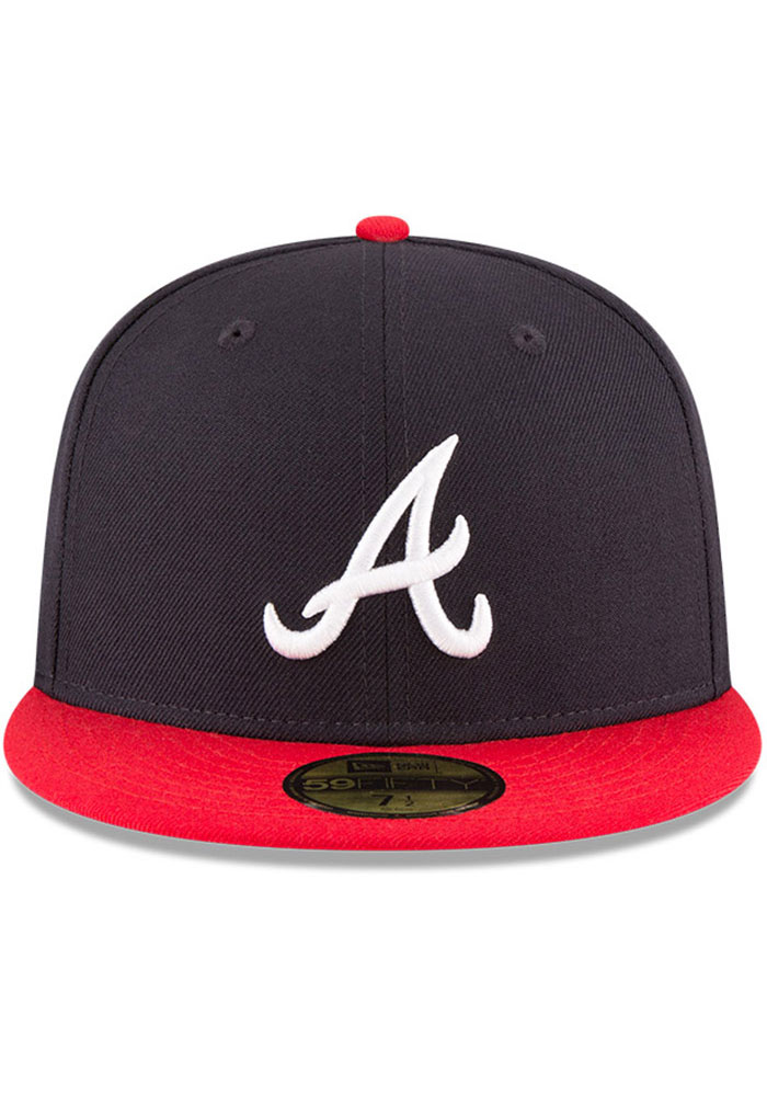 New Era Atlanta Braves Mens Navy Blue 1995 World Series Side Patch 59FIFTY Fitted Hat - Image 3