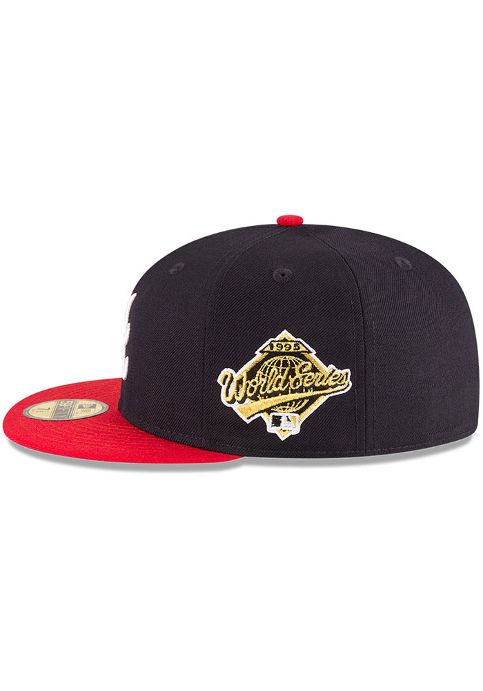 New Era Atlanta Braves Mens Navy Blue 1995 World Series Side Patch 59FIFTY Fitted Hat - Image 4