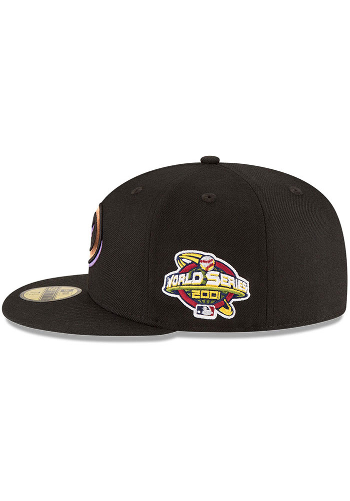New Era Arizona Diamondbacks Mens Black 2001 World Series Side Patch 59FIFTY Fitted Hat - Image 4
