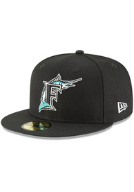 Miami Marlins New Era Cooperstown 59FIFTY Fitted Hat - Black
